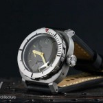 AG DIver Big Crown on waterproof black leather strap showing contrasting bead blasted case and polished bezel/ crown