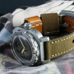 AG DIver Big Crown on canvas ammo strap (not included) crown up view