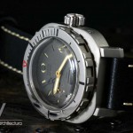 AG DIver Big Crown on waterproof black leather strap closeup of plexiglass